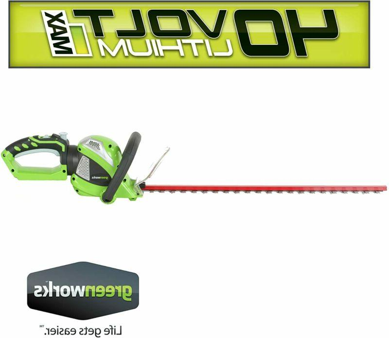 Greenworks 24-Inch Cordless Hedge Trimmer with Rotating Handle,