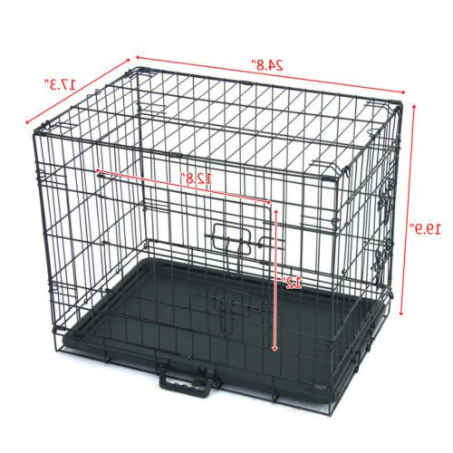 "24"" INCH Dog Crate Kennel Folding Metal Cage 2 Tray Pan NEW"