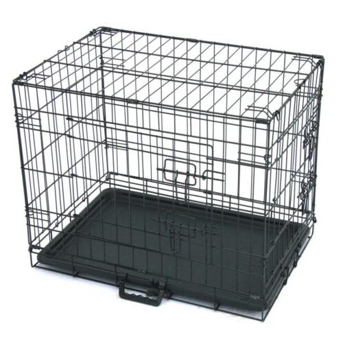 "24"" INCH Kennel Folding Metal Cage 2 Door Tray"