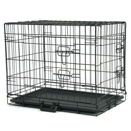"24"" Kennel Folding Cage 2 Divider Tray Pan"