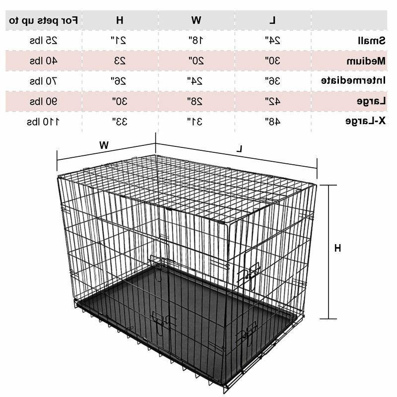 24 inch folding portable dog crate pet
