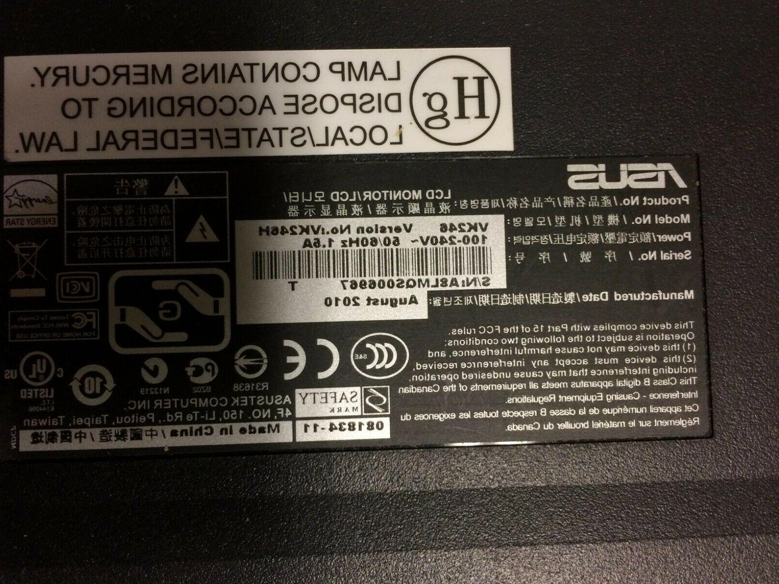 ASUS 24 Monitor with HDMI 1920ix1080 ** NO STAND