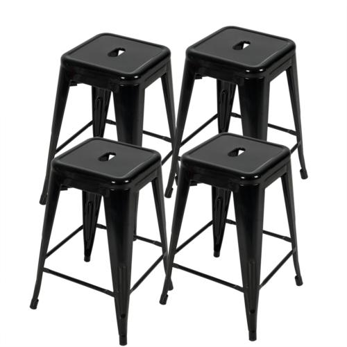 24 Inch Metal Stools of 4 Patio Stackable Barstools
