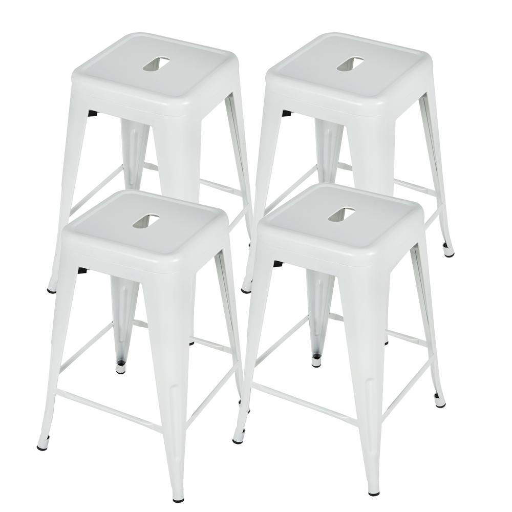 24 Inch Metal Stools of Patio Industrial Stackable Counter Barstools