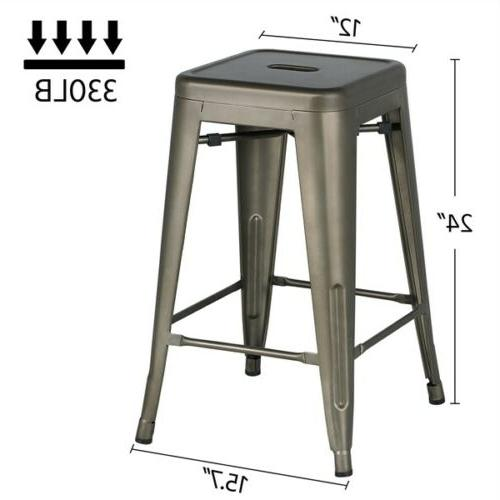 Metal Counter stool Backless Stackable Bar 4