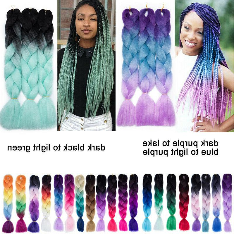 24INCH Sew Twist Braids Kanekalon Jumbo Braiding Ombre Hair