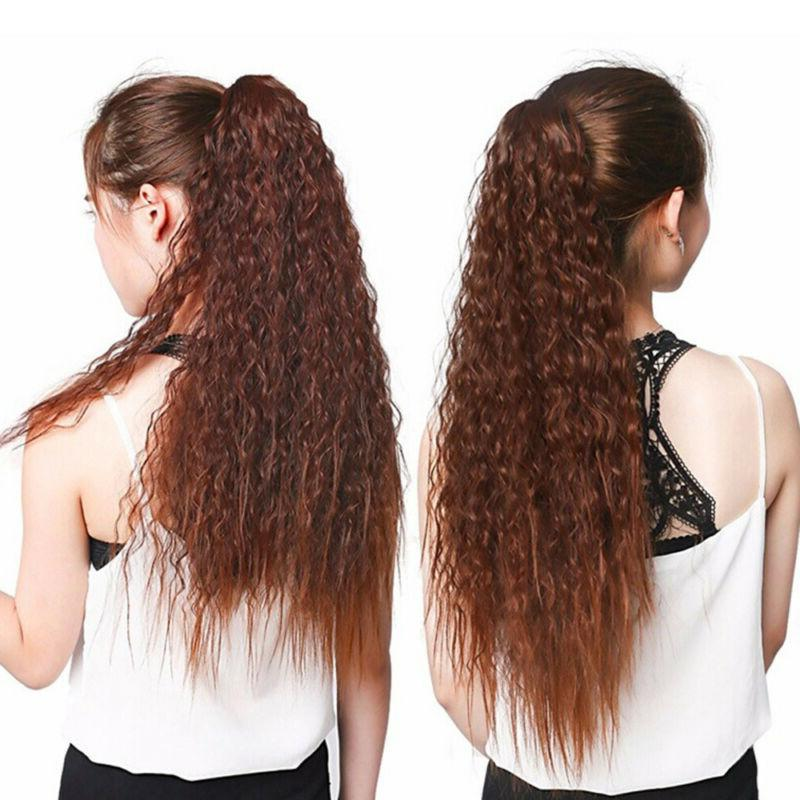 24inch Womens Curly Wavy Drawstring Ponytail