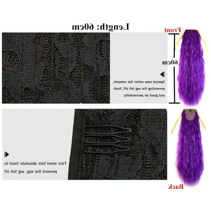 24inch Womens Curly Wig Drawstring Ponytail Hair AA+