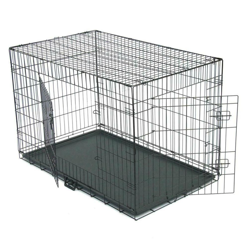 48/42/36/30/24/20 Cage Folding Crate Cage Kennel w/ Tray