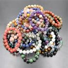 "8mm Natural Round Beads Gemstone Stretchy Bracelet 7""/7.5""/8"