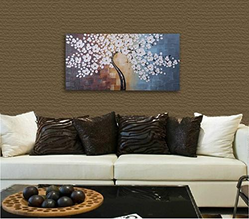 Wieco Extra Abstract Oil Paintings on Wall Art for Room Bedroom Home Modern Hand Gallery White Artwork
