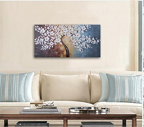 Wieco Blooming Extra Abstract Oil Paintings on Canvas Wall Art for Room Home Modern 100% Painted Gallery White Flowers Artwork x