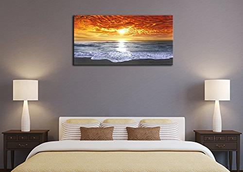 Wieco Art - Sight Wrapped Giclee Seascape Ocean Sea Beach Canvas Wall Art Living Room Bedroom Office Decorations