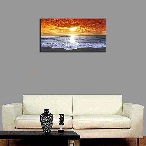 Wieco Grand Sight Large Wrapped Seascape Sea Beach Pictures Canvas Art Living Bedroom Office Decorations 48x24