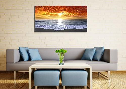 Wieco Sight Large Wrapped Seascape Beach Canvas Art for Living Bedroom Office