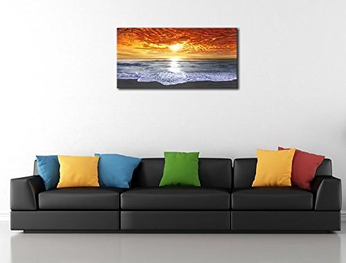 Wieco Art Sight Wrapped Giclee Seascape Artwork Sea Beach Paintings Canvas for Living Room Home Office