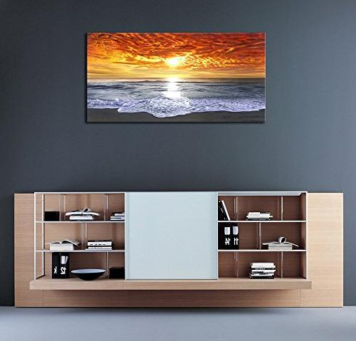 Sight Wrapped Seascape Ocean Beach Paintings Canvas Living Office