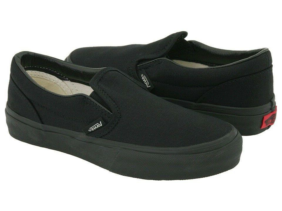Vans Slip On All Black Canvas Skates Mens Womens Shoes 100%