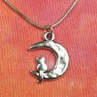 "Cat in Crescent Moon Necklace, pick 16 to 36"" inch long snak"