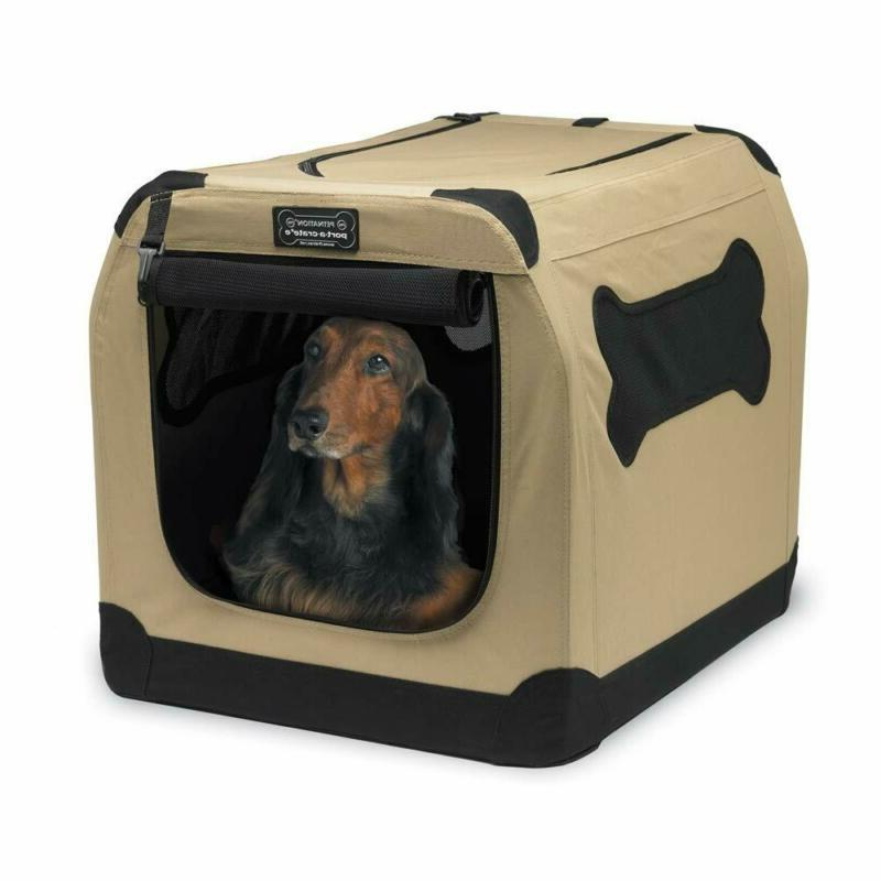 Dog Crate Tan Pet Outdoor Side Lightweight