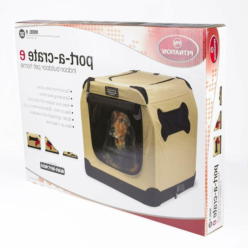 Dog Crate Cage Portable Tan Pet Home Indoor Outdoor Soft Sid