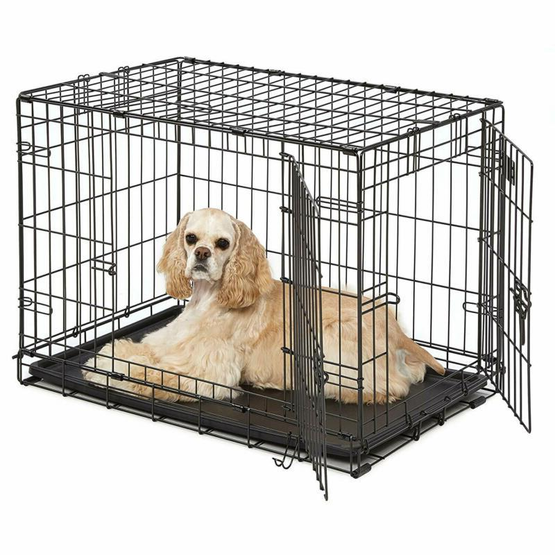 dog crate with divider panel tray single