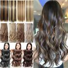"Extra Long 17-30"" One Piece Clip In Hair Extensions Brown Bl"