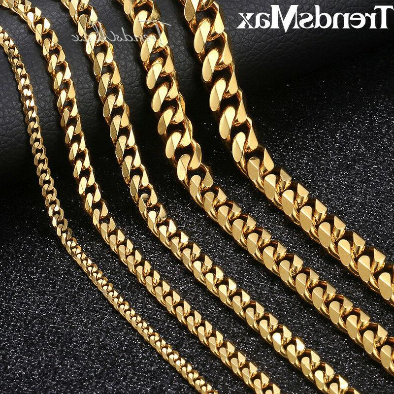 Men 3/5/7/9/11mm 18-36 inch Gold Cuban Link Chain Necklaces