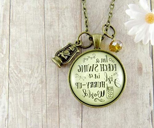 """24"""" Swing Hurry Up Country Girl Necklace Simple Southern Pendant"""