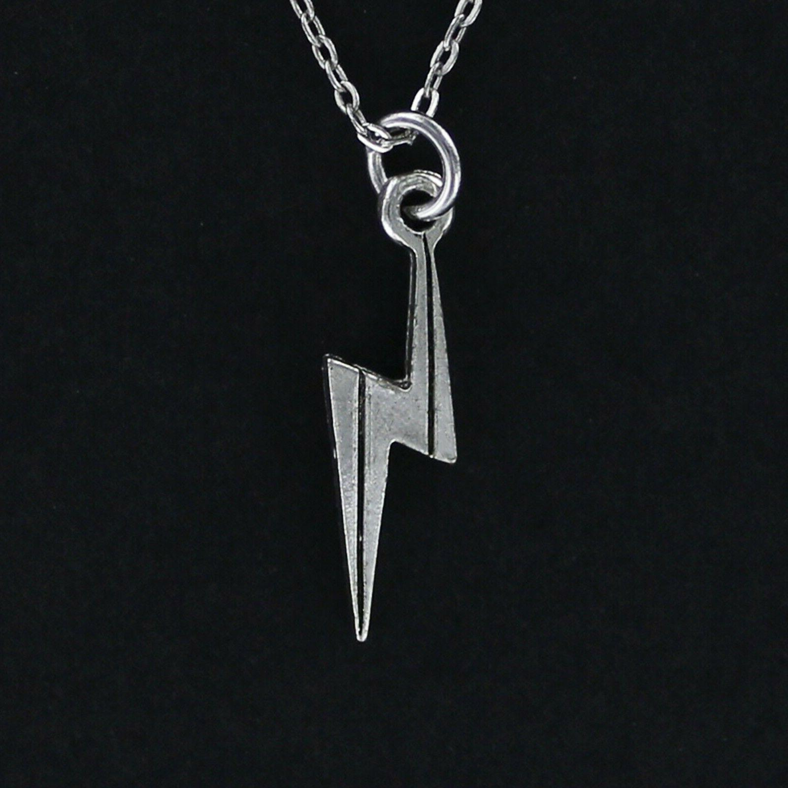 lightning bolt necklace pewter charm on chain