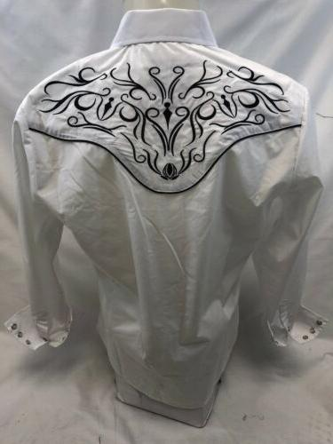 Mens COUNTRY WHITE Long Sleeve Woven SNAP 501