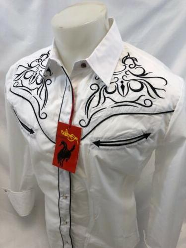 Mens RODEO WESTERN COUNTRY WHITE Long Woven SNAP UP Shirt 501