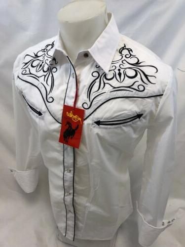 mens western country white long sleeve woven