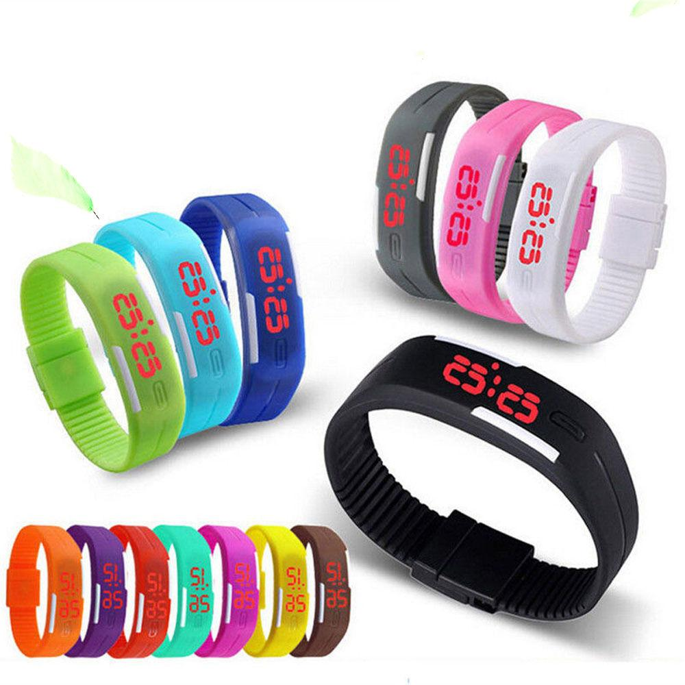 Mens Womens Kids Sports Digital Silicone Rubber LED  Bracele