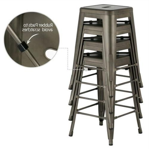Metal Height Bar stool Kitchen Stools Stackable 4
