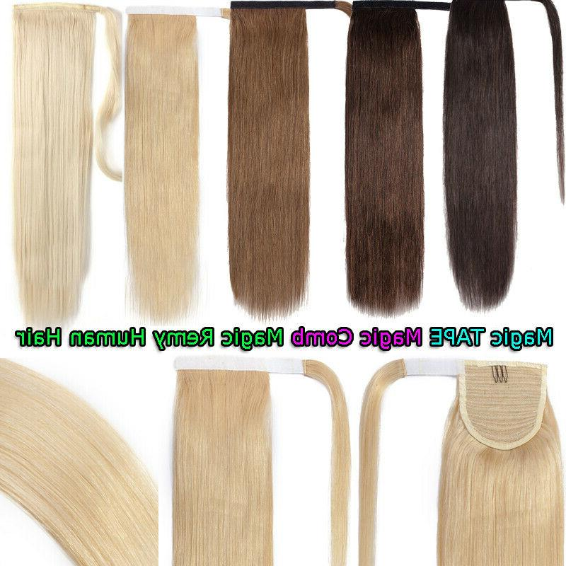 """New 24""""Inch Long Thick Human Hair Extensions Ponytail Around"""