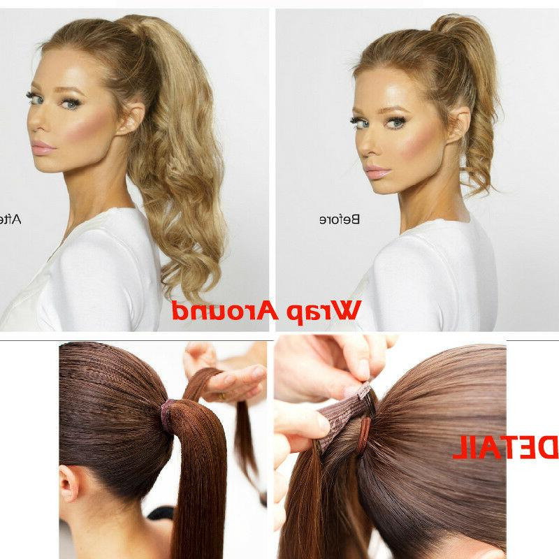 New 95g Thick 100% Remy Human Hair Extensions Ponytail Around