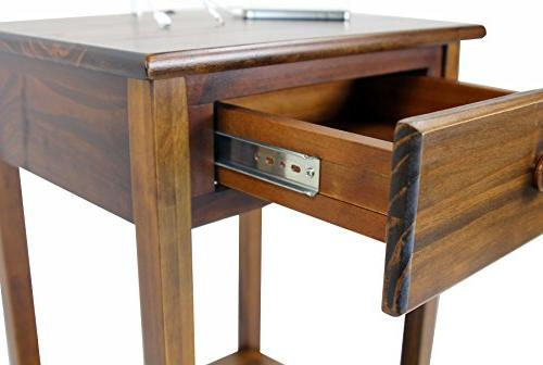 Night Night Stand in Warm Brown Finish