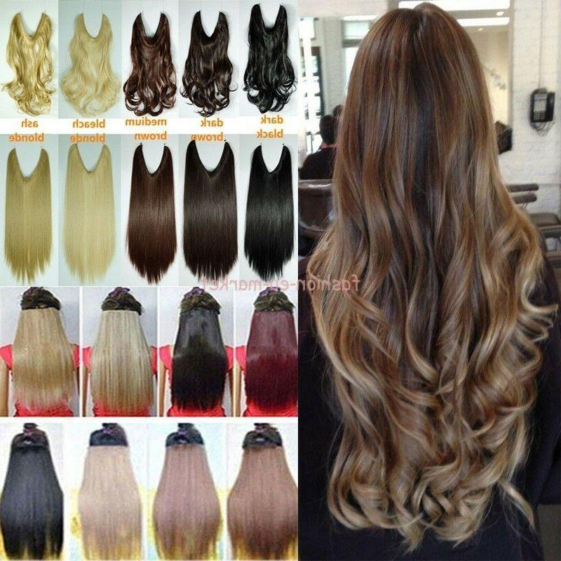 No Clips Headband Wire Hairpiece Hair Extensions 3/4 Full He