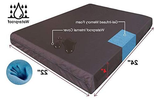 """QQbed Outdoor Patio Seat Memory Foam Cushion Set with Waterproof Cover Size 24""""X22""""X4"""""""