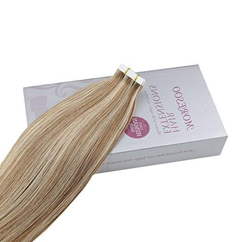Moresoo Hair Extensions Tape in Human Medium #60 Blonde 20PCS Tape on Extensions Real Human
