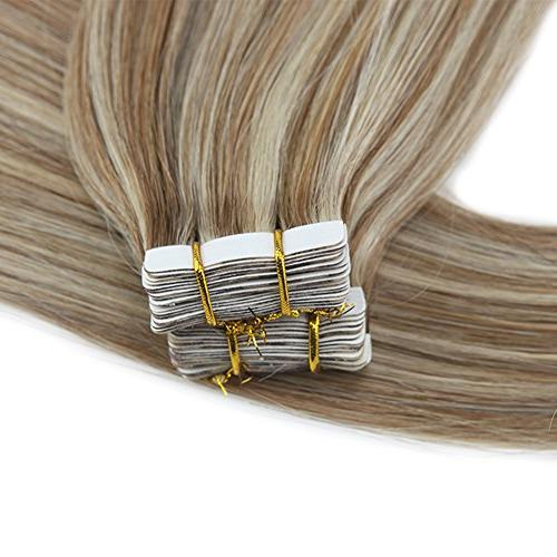 Moresoo 24 Human Color Medium with #60 20PCS Tape Hair Extensions Real