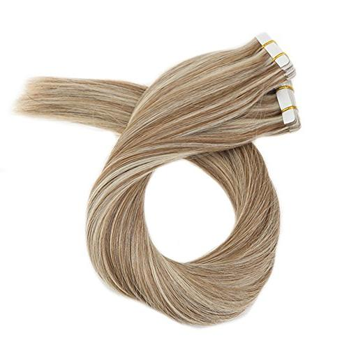Moresoo Inch Hair Extensions Human #6 #60 Platinum Blonde 20PCS Extensions