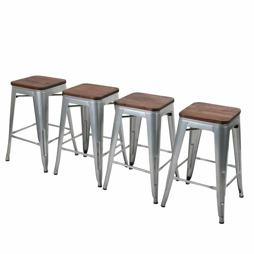 Set 4 Backless Metal Bar Stools Barstool Stool
