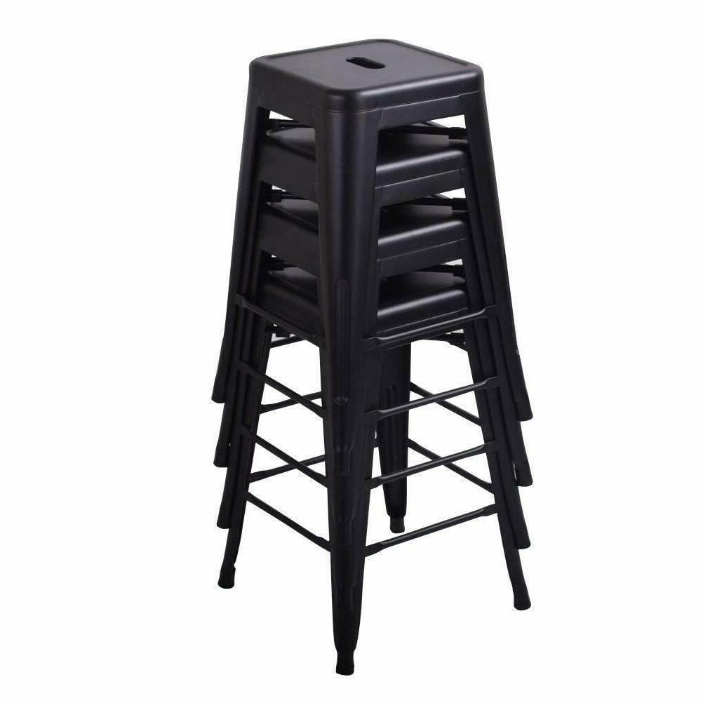 Set of 4 Metal Bar Stools Barstool Kitchen Counter Stool