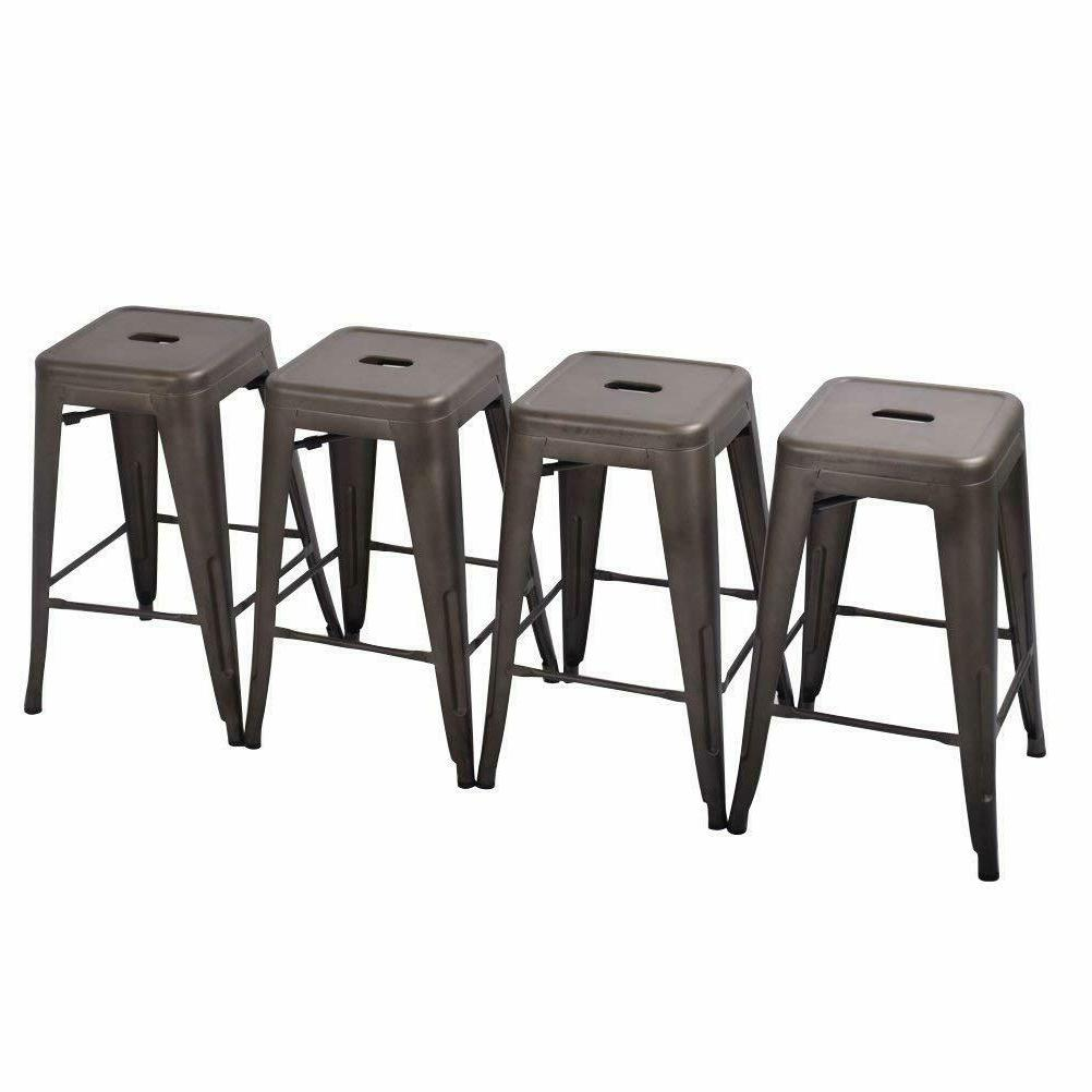 Set 4 Metal Bar Barstool Kitchen Stool