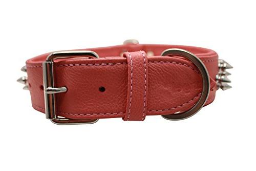"""Spiked Dog Collar, Wide, Padded, 24"""" x Pink, Leather Shepherd, Bulldog"""