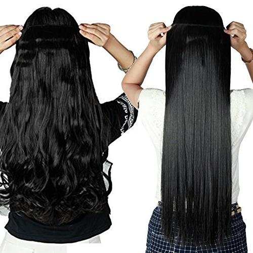 S-noilite Straight 3/4 Head Piece 5clips in Hair Long Poplar Style 22colors