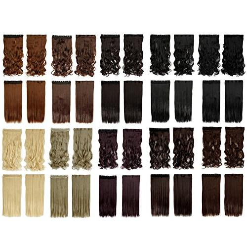 S-noilite Straight 3/4 One Piece 5clips Clip Hair Extensions Long Style Xmas 22colors