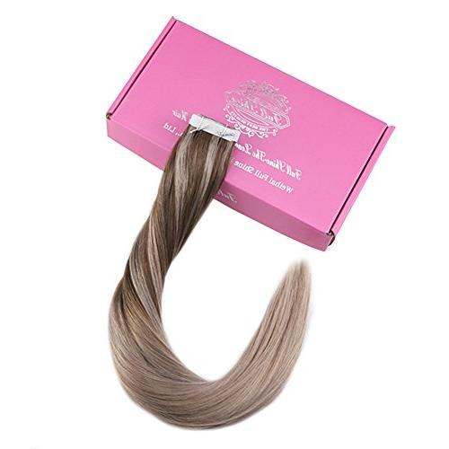 Full 24 Tape Hair Extensions Fading Ash Through Ombre Extensions Glue in 20 Pcs Package